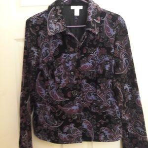 Jackets & Blazers - Purple Paisley Plush Jacket